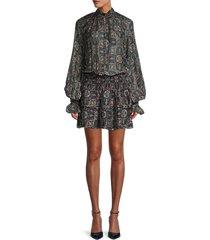 ramy brook women's smocked bishop-sleeve mini dress - black combo - size xxs