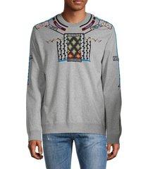 valentino garavani men's embroidered heathered sweatshirt - grigio - size l
