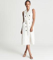 reiss dana - linen blend midi dress in white, womens, size 14