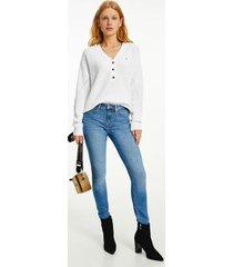 tommy hilfiger women's organic cotton v-neck henley sweater ecru - xxs