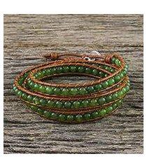 quartz beaded wrap bracelet, 'spring forest' (thailand)