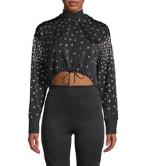 koral activewear women's star-print hooded sweatshirt - black - size l