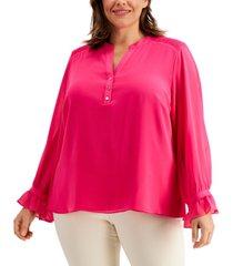 calvin klein plus size smocked-shoulder blouse