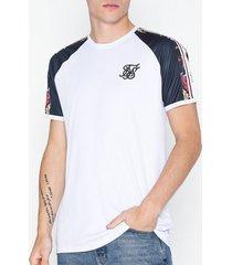 siksilk starlite raglan curved hem tape tee t-shirts & linnen navy/white