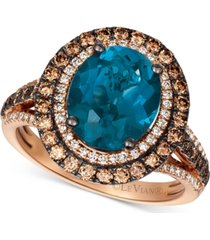 le vian deep sea blue topaz (4-1/2 ct. t.w.) & diamond (7/8 ct.t.w.) statement ring in 14k rose gold