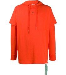 off-white layered long sleeve hoodie - orange