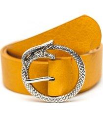 cinturon hebilla de serpiente amarillo guinda