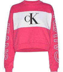 blocking satement logo crew neck sweat-shirt trui roze calvin klein jeans