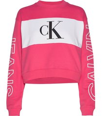 blocking satement logo crew neck sweat-shirt trui roze calvin klein jeans