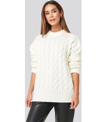 na-kd cable knitted oversized sweater - white