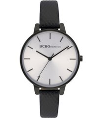 bcbgeneration ladies 3 hands slim black genuine leather strap watch, 36 mm case