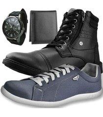 kit bota dhl masculino + sapatênis + relógio + carteira slim - masculino