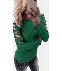 green hollow diseño camiseta de manga larga cruzada detials