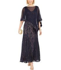 r & m richards glitter lace gown & capelet