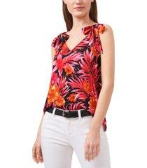 riley & rae printed tie-shoulder top