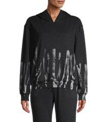 lea & viola women's tie-dye hoodie - black tie dye - size xs