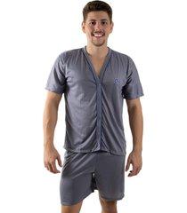 pijama linha noite de botão cinza - kanui