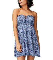 women's woven summer tiered strapless mini dress