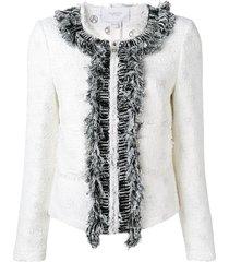 giambattista valli frayed tweed jacket - white
