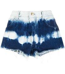 alanui denim tie dye shorts - blue