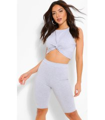 twist front crop top & cycle shorts, grey