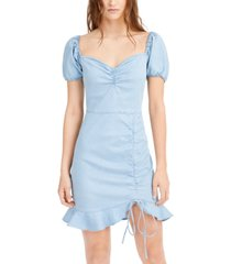 bar iii puff-sleeve ruffled-hem dress, created for macy's