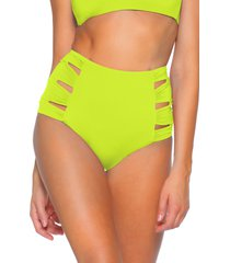 women's soluna clear skies eclipse high waist bikini bottom, size large - green