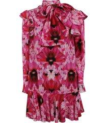 alexander mcqueen floral bow detail dress