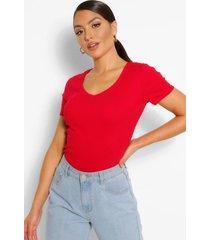 basic cotton v neck t-shirt, red