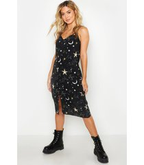 petite cosmic print slip midi dress, black