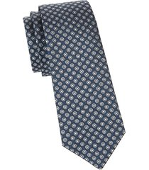 canali men's printed silk tie - blue