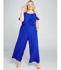 lane bryant women's ruffle-front crepe ankle jumpsuit 16 cobalt blue