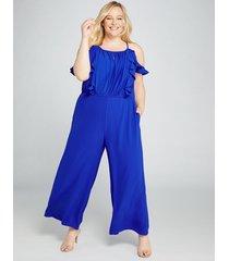 lane bryant women's ruffle-front crepe ankle jumpsuit 26p cobalt blue