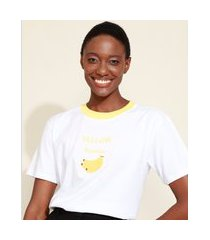 t-shirt feminina mindset com bordado de banana manga curta decote redondo branca