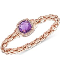 amethyst (8-1/2 ct. t.w.) & white topaz (1/10 ct. t.w.) bangle bracelet in 14k rose gold-plated sterling silver (also in sky blue topaz)