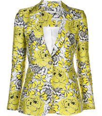 alice+olivia fitted v-neck floral pattern blazer - yellow