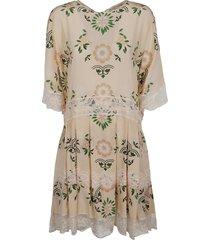 ermanno scervino floral printed lace applique dress