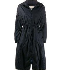 herno hooded a-line rain coat - blue