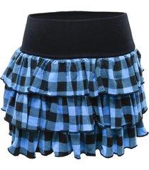 mini falda vuelos cuadrillé azul nicopoly nicopoly