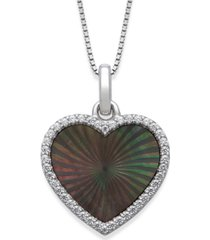 "black mother of pearl 14x13mm and cubic zirconia heart shaped pendant with 18"" chain in sterling silver"