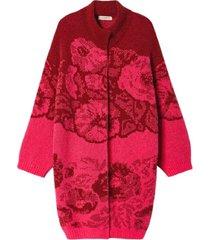 floral jacquard knit coat rood met