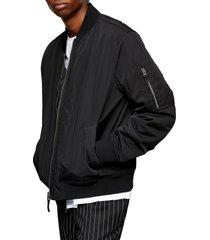 men's topman ma-1 bomber jacket, size x-large - black