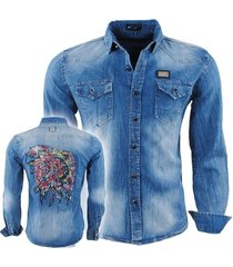 bravo jeans heren overhemd slim fit stretch indian skull strass stenen borstzakken denim blauw