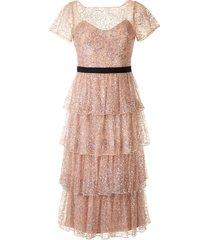 marchesa notte tiered glitter cocktail dress - brown