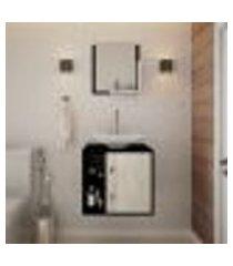 conjunto para banheiro gabinete com cuba folha l38 e espelheira soft 500 preto onix com snow