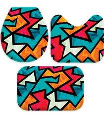 kit 3 tapetes decorativos para banheiro wevans abstrato multicolorido - azul/multicolorido - dafiti
