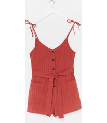 womens that's all stripe button-down belted romper - terracotta