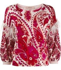 twin-set suéter com estampa e acabamento de plumas - vermelho