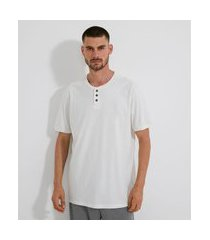 camiseta de pijama com gola portuguesa | viko | branco | gg