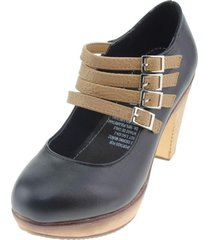 zapato mujer beige/negro via franca
